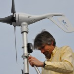 Dr. Fritz Stahr working on wind turbine