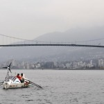 OAR Northwest crew underway and approaching Lions Gate Bridge on CWF Salish Sea Expedition to circumnavigation Vancouver Island counterclockwise.