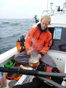 Markus using Jetboil stove to cook grub