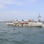Launch day 1/23/13, rowing out toward the breakers from Dakar, past Ile du Ngor.